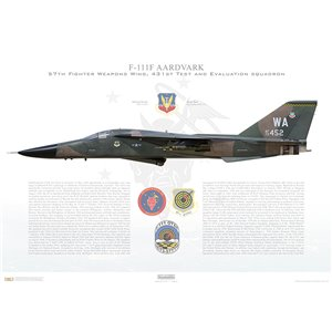 F-111F Aardvark 57th Fighter Weapons Wing, 431st Test and Evaluation Squadron, WA/72-452, McClellan AFB, CA - Squadron Lithograph
