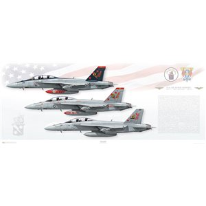 """40x16"""" Print of F/A-18F Super Hornet VFA-11 Red Rippers, CVW-1, USS Theodore Roosevelt, CVN-71, 2015 (AB100 / 166628 & AB101 / 166634)"""