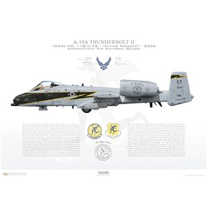 A-10A Thunderbolt II 103rd FW, 118th FS Flying Yankees, CT/78-621 Black Lightning. Connecticut Air National Guard (ANG) - 2006 Squadron Lithograph