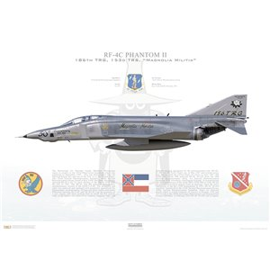 "RF-4C Phantom II 186th Tactical Reconnaissance Group, 153rd Tactical Reconnaissance Squadron, ""Magnolia Militia"", 50th Anniversary, Mississippi Air National Guard, 66-430 - Key Field ANGB, MS, 1989 Squadron Lithograph"