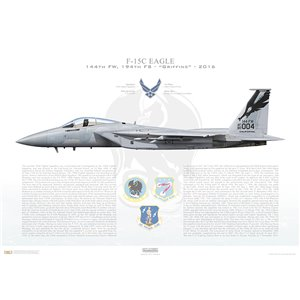 F-15C Eagle 144th Fighter Wing, 194th Fighter Squadron, CA/80-004 - California Air National Guard - Fresno ANG Base, CA - 2016 Squadron Lithograph