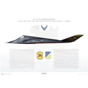 "F-117A Nighthawk (Stealth) 49th OG, 8th FS ""The Black Sheep Squadron"", HO/88-843, Holoman AFB, NM - 2008 Squadron Lithograph"