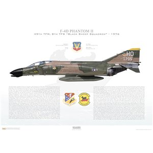 "F-4D Phantom II 49th Tactical Fighter Wing, 8th Tactical Fighter Squadron, ""Black Sheep Squadron"", OH 66-705 - Holloman AFB, NM, 1976 - Squadron Lithograph"