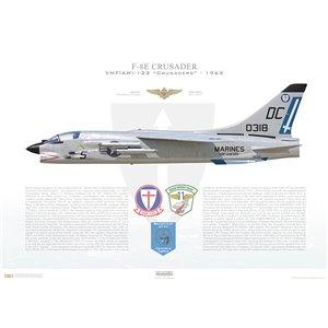 F-8E(F8U-2NE)Crusader VMF(AW)-122 Crusaders,DC5 / 150318. MCAS El Toro - 1965 - Squadron Lithograph