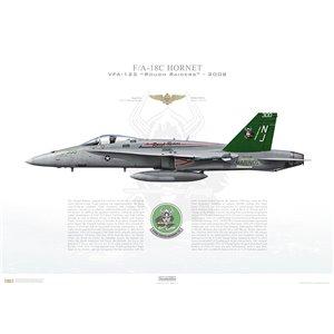F/A-18C Hornet VFA-125 Rough Raiders, NJ300 / 163726. NAS Lemoore, CA - 2008 Squadron Lithograph
