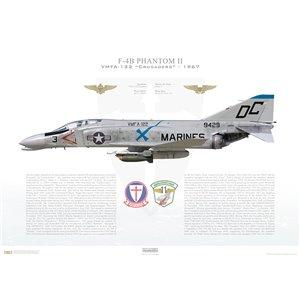 F-4BPhantom II VMFA-122 Crusaders, DC3 / 149429. MAG-11, MCAS El Toro, CA, 1967 - Squadron Lithograph