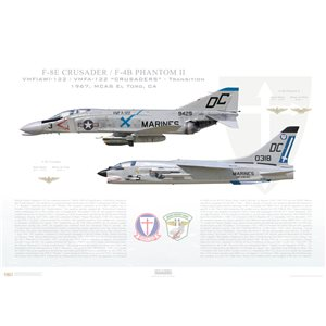 "VMF(AW)-122 to VMFA-122 Crusaders Transition, 1965, MCAS El Toro, CAF-8E Crusader - F-4B Phantom   Size: Standard - 24 x 16"" / 594 x 420mm Squadron Lithograph"