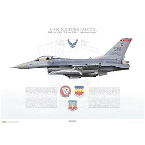 "F-16CM Fighting Falcon 20th Fighter Wing, 77th Fighter Squadron ""Gamblers"", SW/94-0044 - Shaw AFB, SC Squadron Lithograph"