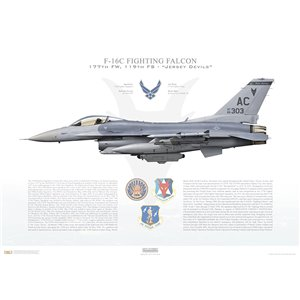 "F-16CM Fighting Falcon 177th Fighter Wing, 119th Fighter Squadron ""Jersey Devils"", AC/86-0303 - Atlantic City ANGB, NJ Squadron Lithograph"