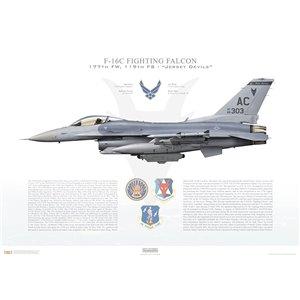 """F-16CM Fighting Falcon177th Fighter Wing, 119thFighter Squadron """"Jersey Devils"""", AC/86-0303 -Atlantic City ANGB, NJ Squadron Lithograph"""