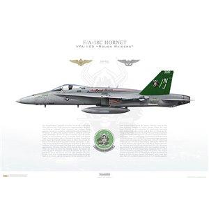 F/A-18C Hornet VFA-125 Rough Raiders, NJ300 / 163726. NAS Lemoore, CA - Squadron Lithograph