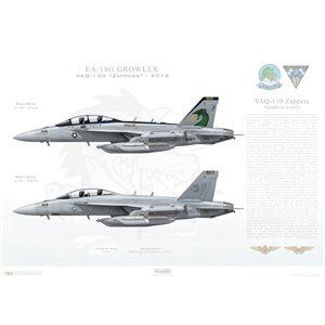 "EA-18G Growler VAQ-130 Zappers, AC500 / 168268 and AG201 / 168254. CVW-3, USS Dwight D Eisenhower CVN-69 - 2016  Size: Standard - 24 x 16"" / 594 x 420mm Squadron Lithograph"