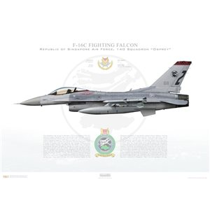 F-16C Fighting Falcon RSAF 140 Squadron, 611/94-0269 - Republic of Singapore Air Force, Tengah Air Base, Singapore - Squadron Lithograph