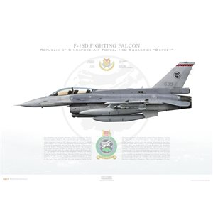 F-16D Fighting Falcon RSAF 140 Squadron, 639/97-0122 - Republic of Singapore Air Force, Tengah Air Base, Singapore - Squadron Lithograph