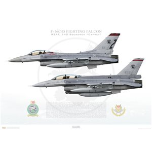 "F-16C/D Fighting Falcon 94-0269/97-0122, RSAF 140 Squadron ""Osprey"" 611/639, Tengah AB, Singapore   Size: Standard - 24 x 16"" / 594 x 420mm Squadron Lithograph"