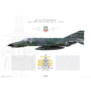 "QF-4E Phantom II 53rd Weapons Evaluation Group, 82nd Aerial Targets Squadron (Det 1), TD/74-0643 - Tyndall AFB, FL, 2016 ""Last Phantom Flight"" -  Squadron Lithograph"