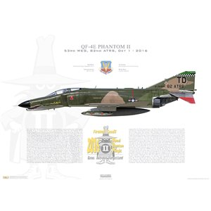 "QF-4E Phantom II 53rd Weapons Evaluation Group, 82nd Aerial Targets Squadron (Det 1), TD/74-1638 - Tyndall AFB, FL, 2016 ""Last Phantom Flight"" -  Squadron Lithograph"