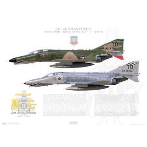 QF-4E Phantom II - Last USAF Phantom Flight, 82nd ATRS, 53rd WEG,Tyndall AFB, FL, 2016 - Squadron Lithograph