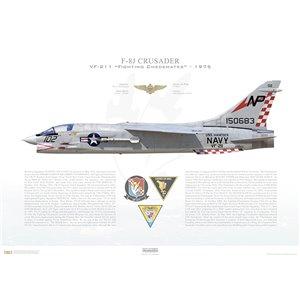 F-8JCrusader VF-211 Fighting Checkmates,NP102 / 150683. CVW-21, USSHancockCVA-19 - 1975 Squadron Lithograph