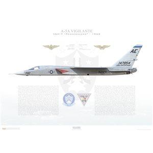 A-5A (A3J-1) Vigilante VAH-7 Peacemakers, AE700 / 147854. CVW-6, USS Enterprise CVAN-65 - 1962 Squadron Lithograph