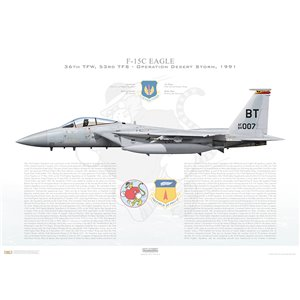 F-15C Eagle 36th Tactical Fighter Wing, 53rd Tactical Fighter Squadron, BT/84-007 - Bitburg AB, Germany - Operation Desert Storm, 1991 - Squadron Lithograph