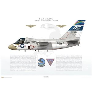 S-3A Viking VS-31 Topcats, AG700 / 159769. CVW-7, USS Independence CV-62 - 1978 Squadron Lithograph