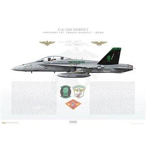 F/A-18D HornetVMFA(AW)-121Green Knights, VK01 / 165413.MAG-11, MAW-3, MCAS Miramar, CA- 2005 Squadron Lithograph