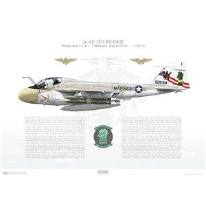 A-6E Intruder VMA(AW)-121 Green Knights, VK1 / 159314. MCAS Cherry Point, NC - 1977 Squadron Lithograph