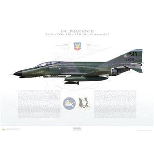 "F-4E Phantom II 347th Tactical Fighter Wing, 70th Tactical Fighter Squadron ""White Knights"", MY/68-429 - Moody AFB, GA - Squadron Lithograph"