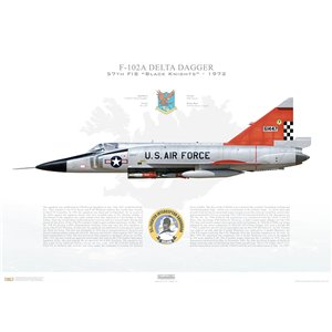 """F-102A Delta Dagger 57th Fighter Interceptor Squadron """"Black Knights of Keflavik"""", Aerospace Defence Command, 06-1447 / 1972 -NAS Keflavik, Iceland, 1972 - Squadron Lithograph"""