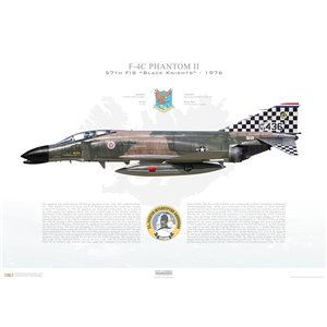 "F-4C Phantom II 57th Fighter Interceptor Squadron ""Black Knights"", 63-7436 - NAS Keflavik, Iceland / 1976 - Squadron Lithograph"
