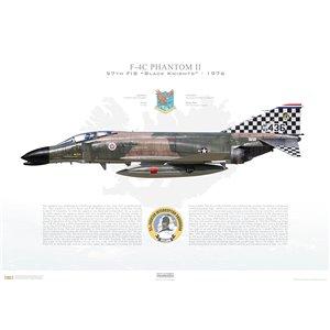 "F-4CPhantom II 57th Fighter Interceptor Squadron ""Black Knights"", 63-7436-NAS Keflavik, Iceland / 1976 - Squadron Lithograph"