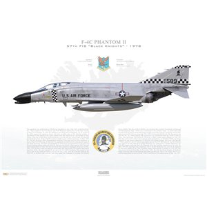 "F-4C Phantom II 57th Fighter Interceptor Squadron ""Black Knights"", 63-589 - NAS Keflavik, Iceland / 1978 - Squadron Lithograph"