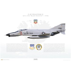 "F-4E Phantom II 57th Fighter Interceptor Squadron ""Black Knights"", 66-382 - NAS Keflavik, Iceland / 1978 - Squadron Lithograph"