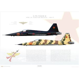 F-5N Tiger II VFC-13 Fighting Saints, AF13 / 761578 & AF02 / 761536. TSW/CVWR-20, NAS Fallon, Nevada - 2017 Squadron Lithograph