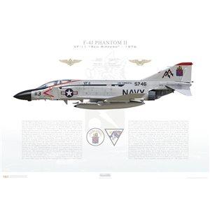 F-4JPhantom II VF-11 Red Rippers,AA113 / 155746. CVW-17, USSForrestalCV-59, 1976 Squadron Lithograph