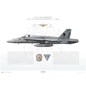 F/A-18A Hornet VFA-192 Golden Dragons, NF310 / 162882. CVW-5, USS Midway CV-41 - 1989 Squadron Lithograph