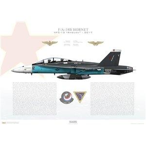 F/A-18B Hornet VFC-12Ambush, AF12 / 161924. TSW - 2017 Squadron Lithograph