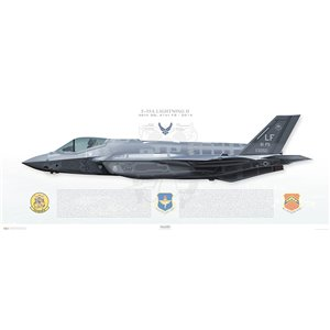 F-35A Lightning II 56th Operations Group, 61st Fighter Squadron, LF/12-5050 -Luke AFB,AZ - 2014 Squadron Lithograph