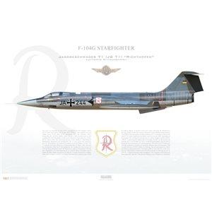 "F-104G Starfighter Jagdgeschwader 71 (JG 71) ""Richthofen"", JA+244, Luftwaffe Wittmundhafen Air Base, 1967Squadron Lithograph"