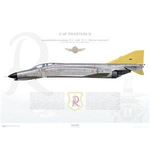 """F-4F Phantom II, Jagdgeschwader 71 (JG 71) """"Richthofen"""", 37+06, Luftwaffe Wittmundhafen Air Base, 1988 Squadron Lithograph"""