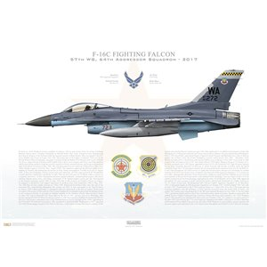F-16C Fighting Falcon 57th Wing, 64th Aggressor Squadron, WA/86-272 - Nellis AFB, NV - 2017 Squadron Lithograph