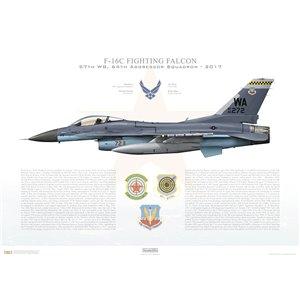 F-16C Fighting Falcon 57th Wing, 64th Aggressor Squadron, WA/86-272 - Nellis AFB, NV - 2017 Squadron Lithograph