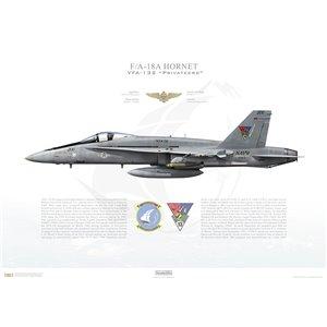 F/A-18A Hornet VFA-132 Privateers, AK200 / 162422. CVW-13, USS Coral Sea CV-43 - 1990 Squadron Lithograph