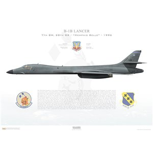 "B-1B Lancer 7th BW, 28th BS Thunderbirds, DY/86-0133 ""Memphis Belle"". Dyess AFB, TX - 1996 Squadron Lithograph"