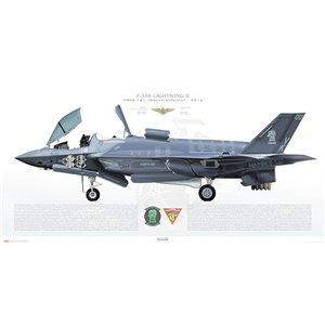 F-35B Lightning II VMFA-121 Green Knights, VK00, 169164 -MCAS Yuma,AZ - 2015 Squadron Lithograph