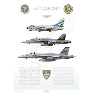 """VFA-97 Warhawks 50th Anniversary - 1967-2017 - A-7E Corsair II, F/A-18A Hornet, F/A-18E Super Hornet Size: Standard - 24 x 16"""" / 594 x 420mm Squadron Lithograph"""
