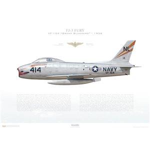 FJ-3Fury VF-154 Grand Slammers,NL414 / 135928. 1956 Squadron Lithograph