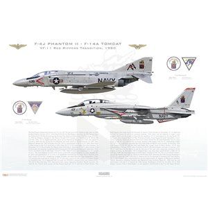 VF-11 Red Rippers Transition, 1980 / F-4J Phantom II - F-14A Tomcat Squadron Lithograph
