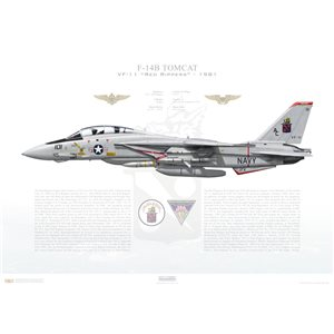 F-14A Tomcat VF-11 Red Rippers, AC101 / 159011. CVW-3, USS John F. Kennedy CV-67 - 1981 Squadron Lithograph